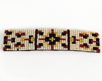 Boho Beaded Barrettes - Red and Gold - Beaded Barrettes - Hair Clip