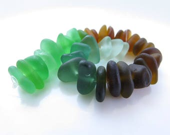 Original Genuine Center drilled Sea Glass- 35 pcs , Colorful Seaglass Drilled, Center Drilled Small Beach Glass