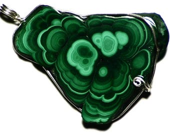 Malachite Pendant, Malachite Stone Jewelry, Congolese Malachite Slice Pendant, Sterling Silver Malachite Slice Jewelry, Raw Gem From Congo