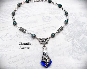 Sapphire Victorian Necklace, Rococo Jewel Gothic Necklace, Victorian Jewelry