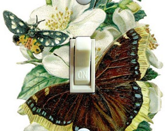 Vintage Butterfly & Dogwood Illustration Switch Plate (single)  ***FREE SHIPPING***