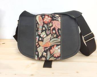 Medium Woodland Creatures Black Leather Camera Satchel Bag DSLR- IN-STOCK