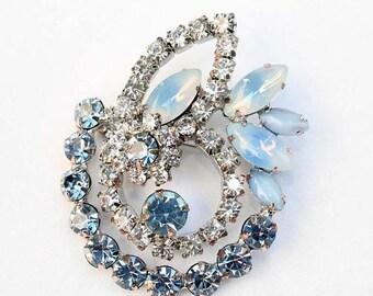 20% OFF SALE - Vintage Light Sapphire Sabrina, Light Sapphire Moonstone and Crystal Rhinestone Floral Motif Brooch
