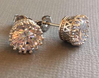 Rhinestone Stud Earrings Cubic Zirconia stds with Sterling silver posts large 8mm size wedding stud earrings bridal earrings