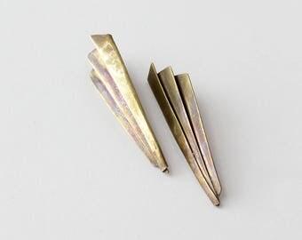 Paper Plane Vintage Earrings • Large Brass Earrings • Brass Stud Earrings • Fan Earrings • Brass Dangle Earring • Statement Earrings | E279