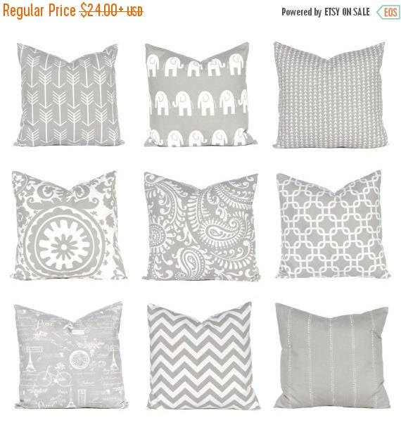 20% Off Sale Gray Pillow, Euro Sham, Throw Pillow Cover, One Decorative Throw Pillow Cover,  Pillow Covers Storm Gray and White Mix and Matc