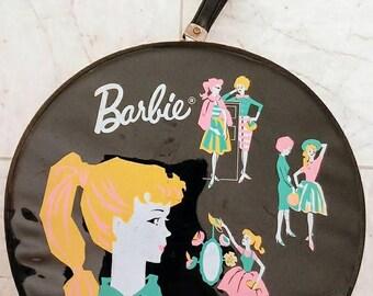 Vintage 1962 Barbie Carrying Case Doll Black Round