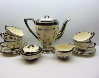 Vintage MYOTT Tea Set, Old Silver Lustre Hand Painted Tea Set