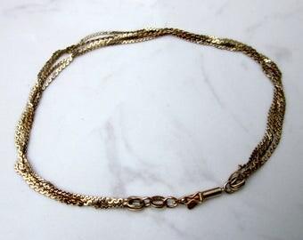 Estate 14K Solid Yellow Gold Multi Strand 8 inch Bracelet
