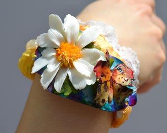 DAISY and BUTTERFLY Bracelet - Statement Adjustable OOAK Bracelet