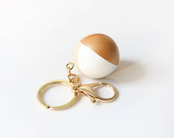 Copper + White + Natural Wood Ball Keychain with Gold ring, geometric, natural, modern, minimalist, key fob, house warming gift
