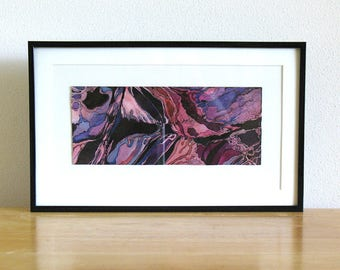 Original watercolor painting, small framed art, purple abstract art, Amaranthine Chaos