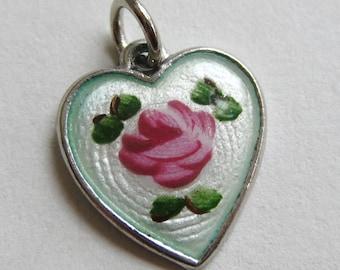 Vintage Charm Sterling Silver Guilloche Enamel Heart Bracelet Charm