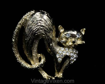 Traipsing Cat Brooch - 1960s Novelty Animal Pin - Gold Color Metal & Clear Rhinestones - 60s Feline Pin - Arching Back Surprised Cat - 50551