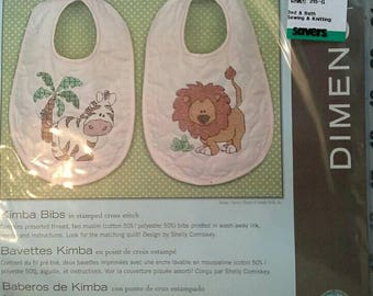 Zebra and Lion Baby Bibs Stamped Cross Stitch Kit Dimensions Kimba Bibs NIP
