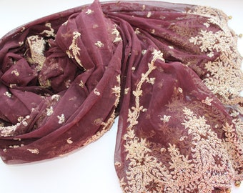 Indian vintage brown net long embroidered dupatta . Zardozi scarf. Wedding stole. Hand embroidered scarf. SCM008