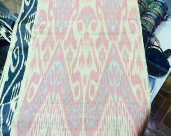 Uzbek traditional handwoven silk ikat fabric by meter