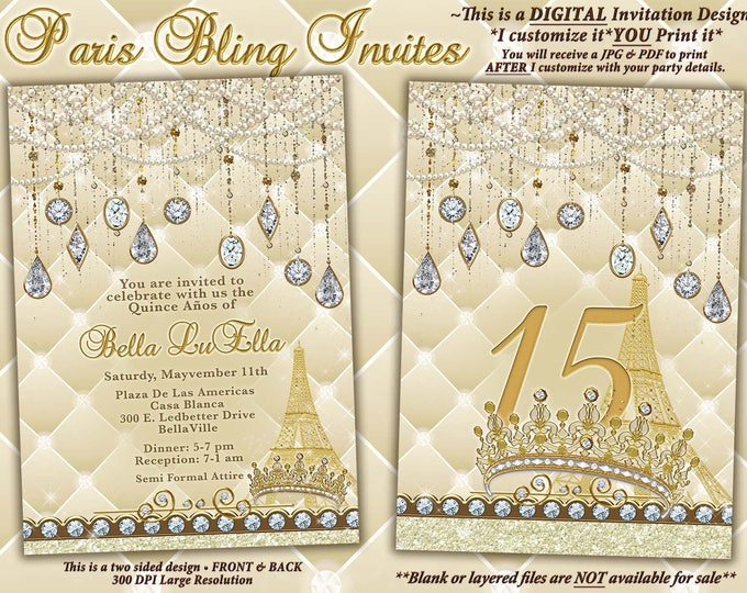 Paris Bling Party Invitations