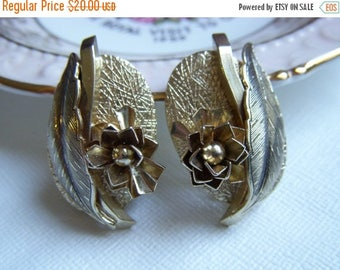 ANNIVERSARY SALE Whiting and Davis Gold Flower and Leaves Earrings