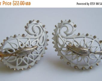 ANNIVERSARY SALE Vendome White Enamel and Gold Paisley Earrings
