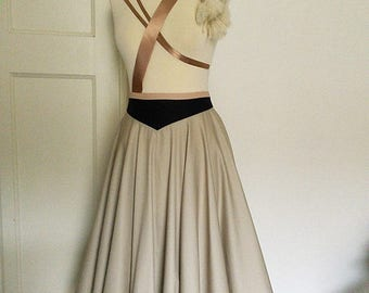 ON SALE Vintage style Tea-Length Circle skirt in Dove grey with contrasting Navy waistband. Available in sizes XS-Xl or made to measure.