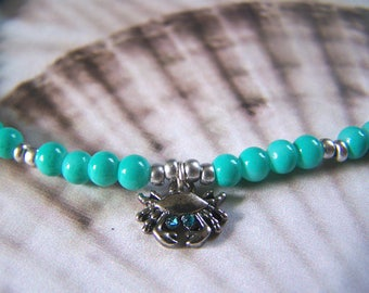 Anklet Beaded Turquoise with Crab Charm