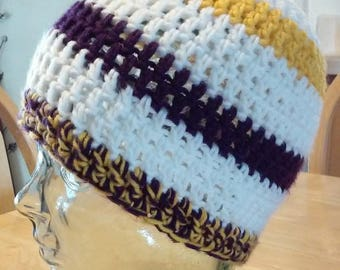 Ponytail Beanie -Purple, Gold and White - Great For Minnesota Vikings NFL Fans
