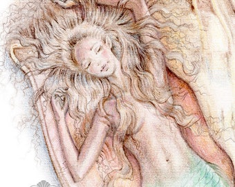 ORIGINAL Mermaid Art Drawing 8x10 inch Lightning Whelk Sea Shell Mermaid Pencil Pastel Drawing Coral Beige Green