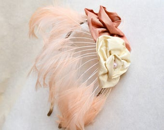 1920s style Peach cream feather & silk rose headpiece / 20s flapper rosette fan metal headband