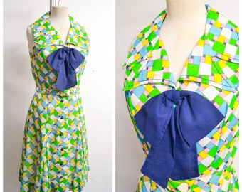 1960s 70s Green pink blue check pussybow shirt dress / 60s Kitty Copeland sleeveless pleated day dress -