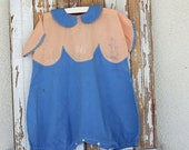 Vintage Kids Antique Blue And Tangerine Romper with Embroidered Duck and Butterfly