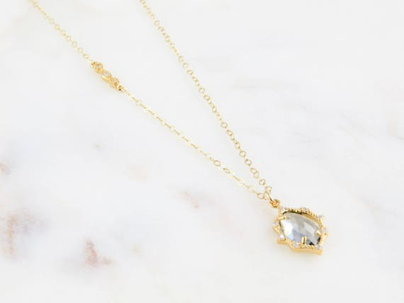 Delicate CZ Necklace | Glass Necklace | Crystal Necklace | Layering Necklace | Dainty Stone Necklace | Boho Jewelry | Gift For Her