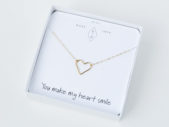 Heart Necklace | Delicate Necklace | Heart Pendant | Girlfriend Gift | Dainty Gold Necklace | Best Friend Gift | Gift for Mom | Gift for Her