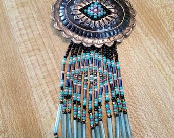 Vintage Southwestern Pin Brooch Seed Beads 1990s