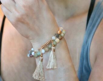 Amazonite Stone Bracelet, Metaphysical Jewelry, Polished Stone Bracelet