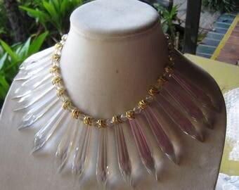 vintage crystal necklace long filigree prism drops
