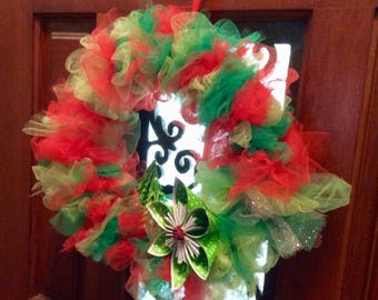 Tulle Christmas Wreath Plus Origami Decorations 12 Inches Wide Shabby Chic Design