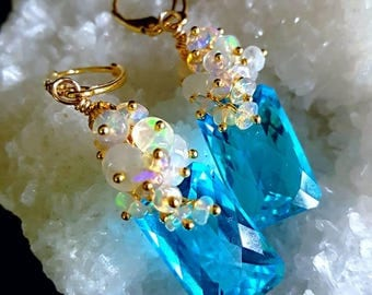 New! Sea Blue Topaz with Ethiopian Opal and Moonstone Cluster on Gold Vermeil Leverbacks Bridal Earrings Gift for Her