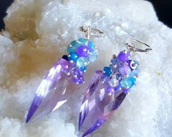 New! Pink Amethyst Fancy Cut Gemstone Earrings with Blue Ethiopian Opal Cluster on Sterling Silver Leverbacks Gift For Her