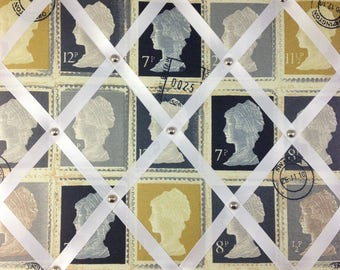 "Pin Board/Notice Board ""Vintage Postage Stamps"" Message,Memo,Bulletin Board Large 48x40cm / 18x16"""