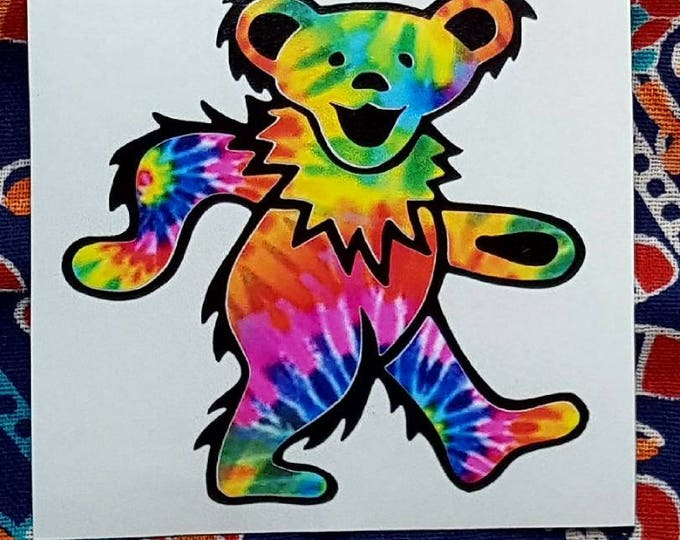 Grateful Dead Tie Dyed Dancing Bear Vinyl Graphic Sticker Decal Double Overlay