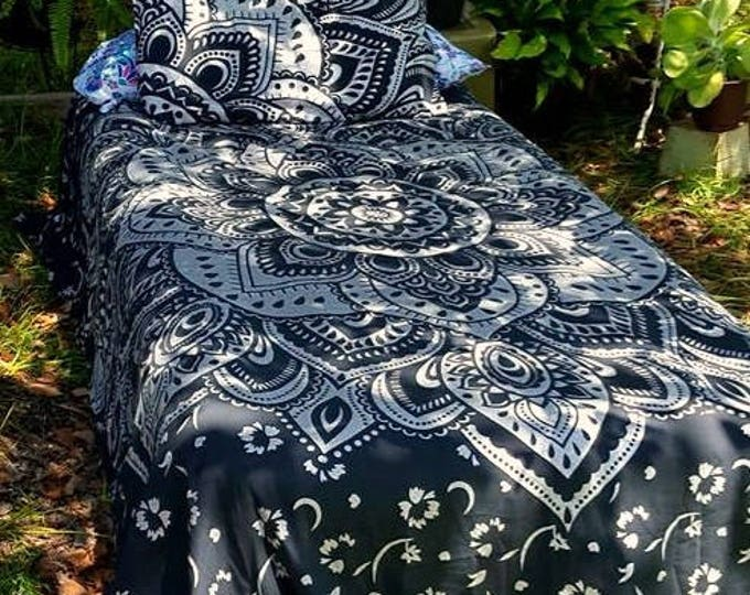 Navy Blue and Silver Mandala Duvet Cover Set or Flat Sheet Set Beach Bedding Gypsy Bedding Dorm Decor Nursery Decor Hippie Boho Bedding