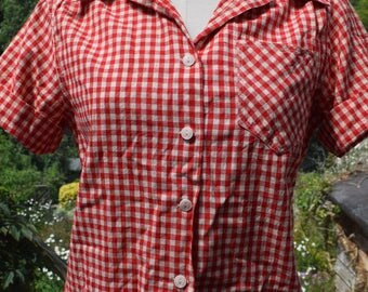 """1950 Red Cotton Gingham Blouse sz 10-12 UK 36"""" Rockabilly"""