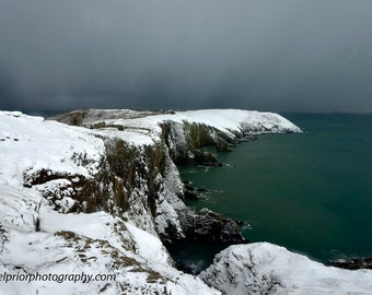 the oldhead of kinsale in the snow
