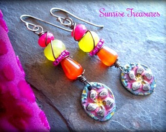Colorful Wire Wrapped Gemstone Dangle Earrings, Rustic Artisan Pewter Flower Charms, Hot Pink and Yellow Chalcedony, Orange Jade