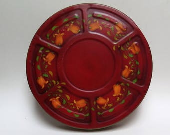 Kodak Movie Reel Tin Hand Painted Tole Ware Red and Olive