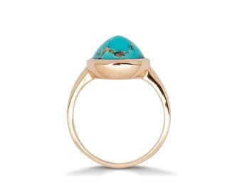Turquoise Engagement Ring - Vintage Turquoise Ring - Turquoise Ring Gold – Natural Turquoise Ring