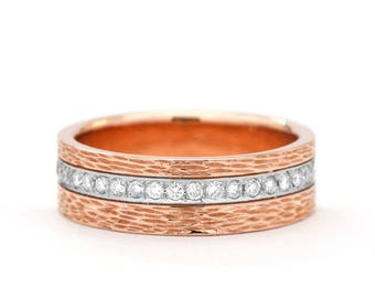 Handmade Wedding Ring - The Coral Ring - Two Tone Diamond Wedding Ring