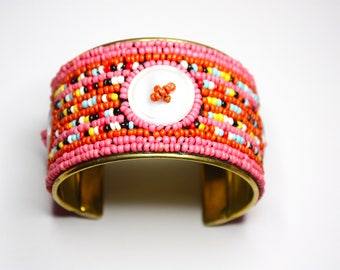 Colorful Cuff Bracelet, Button Cuff Bracelet, Natural Brass Cuff, Handmade Cuff Bracelet, Limited Edition, Ready to Ship