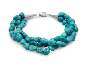 Turquoise Summer Bracelet, handmade, made to order, Nautical Bracelet, Summer Turquoise, Stone Nuggets